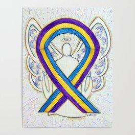 Bladder Cancer Awareness Ribbon Angel Art Painting Poster