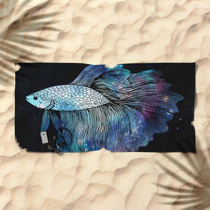Betta Fish Galaxy Beach Towel
