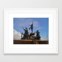 puerto rico Framed Art Prints featuring Fountain in Puerto Rico by Julio's Store