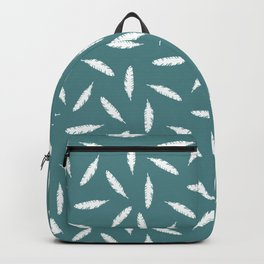 Pillow Fight, White on Teal Backpack