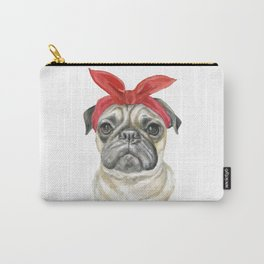 Pug with a Red Bandana Watercolor Carry-All Pouch