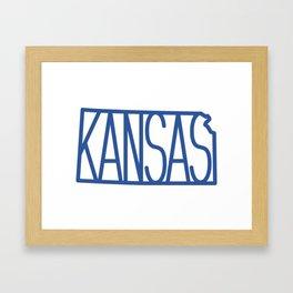 State of Kansas Typography - Blue Framed Art Print