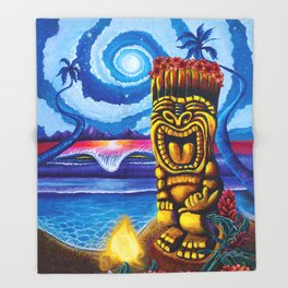 Tiki Moon Throw Blanket