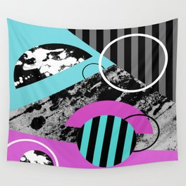 Bits N Pieces III - Abstract, geomtric, random, textured, stripes, black, pink, cyan, artwork Wall Tapestry