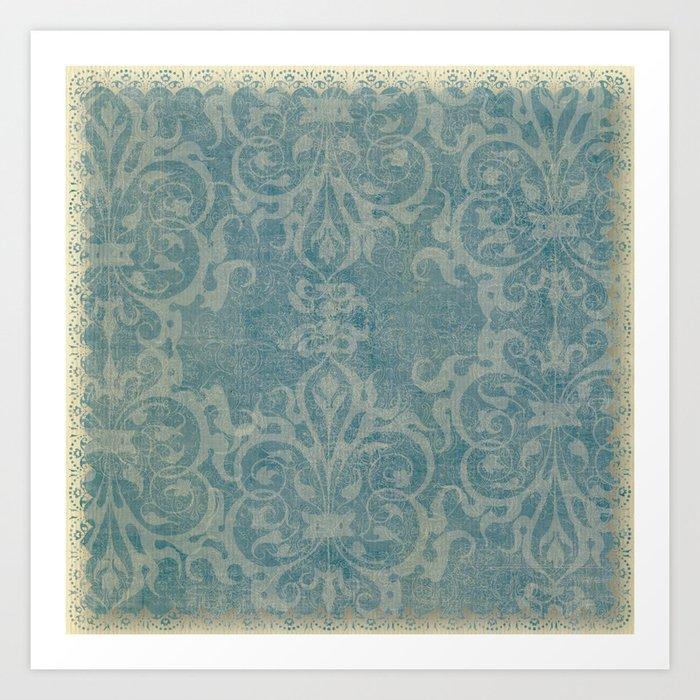 Antique rustic teal damask fabric Kunstdrucke