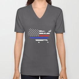 Thin Blue Red Line American Flag Police Firefighters Fire Unisex V-Neck