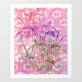 Cherry Blossom Pink Batik Butterfly Stencil | Chinoiserie Chic Watercolor Print - Cherry Blossom Pink  Art Print
