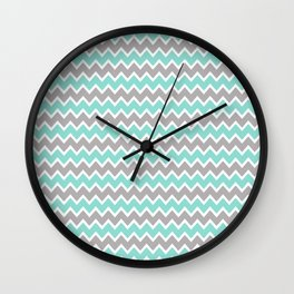 Aqua Turquoise Blue and Grey Gray Chevron Wall Clock