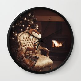 Christmas By A Roaring Log Fire Wall Clock
