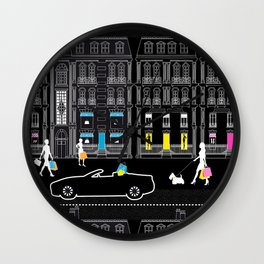 Shopping by night Avenue Montaigne Wall Clock