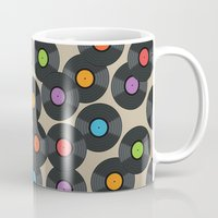 records Mugs featuring Vinyl Records by PatternInk