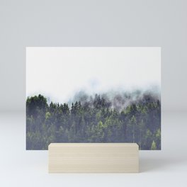 Foggy forest watercolor painting #4 Mini Art Print