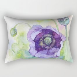 Watercolor blue poppy flowers Rectangular Pillow