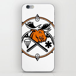 Angry Moose Crossed Ice Pick Axe Pararescue Mascot iPhone Skin