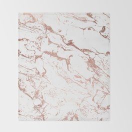Modern chic faux rose gold white marble pattern Throw Blanket