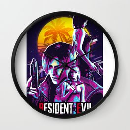 resident evil retro art 1 Wall Clock