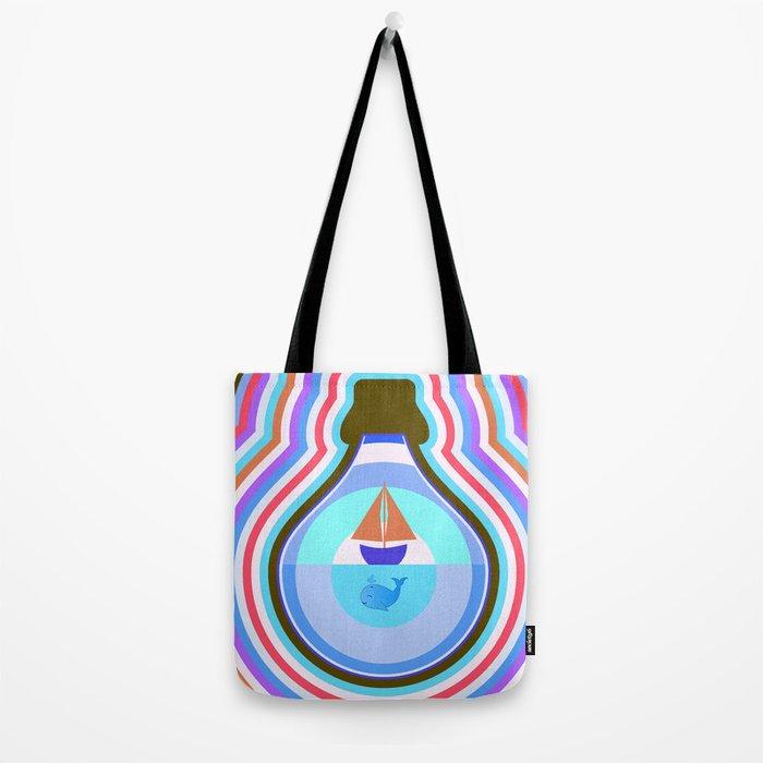 Ship and waves Tote Bag