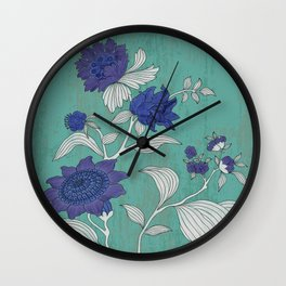 Folk Flower's Branch Wall Clock