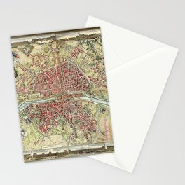 Vintage 1784 Lithographic Map of Paris, France Stationery Cards