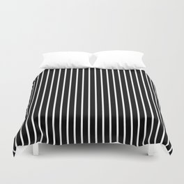 Classic White Pinstripe on White Duvet Cover