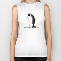 penguin Biker Tanks featuring Penguin by thinschi