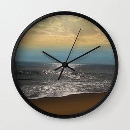 Golden Sky Over The Ocean Wall Clock