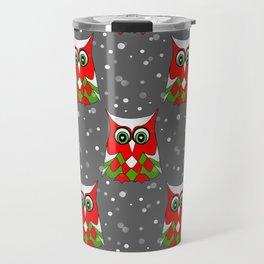 Christmas Snow Owl Pattern Travel Mug