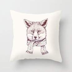 Fox and scarf Throw Pillow