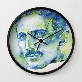NIKOLA TESLA - watercolor portrait.5 Wall Clock
