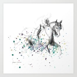 Horse (Rainy canter) Art Print