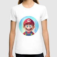 mario kart T-shirts featuring Mario Portrait by Laurence Andrew Page Illustrator