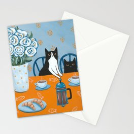 Cats and a French Press Stationery Cards