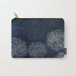 Denim Blue Shibori Sea Urchin Burst Pattern Carry-All Pouch