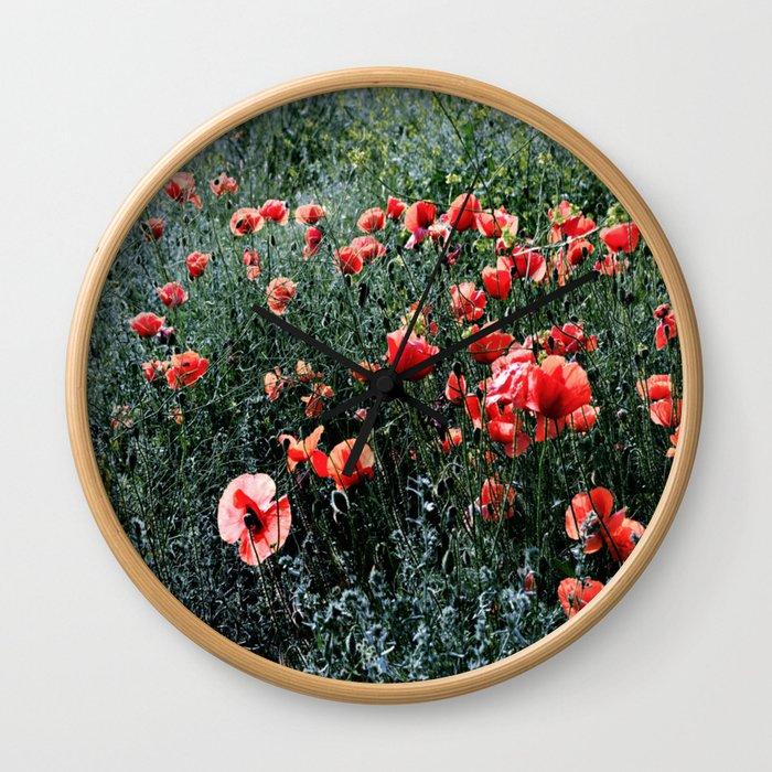 Poppies In A Field Wall Clock
