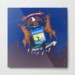 Michigan State Flag with Audience Metal Print