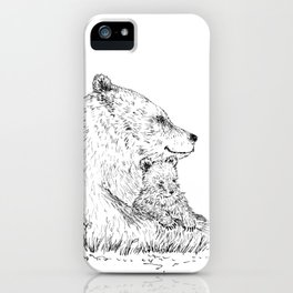 Mom and Baby Grizzly Bear iPhone Case