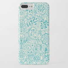 Detailed Floral Pattern in Teal and Cream iPhone 7 Plus Slim Case