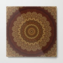 Golden Mandala Harmony on Red Metal Print