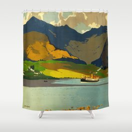 Loch Awe Vintage Mid Century Art Travel Poster British Railways Colorful Landscape Shower Curtain