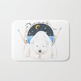 Polar Bear King Of North Watercolor Bath Mat