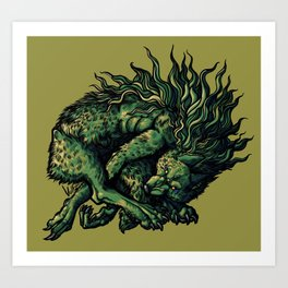 Chasing your own tail brings cold comfort  Art Print