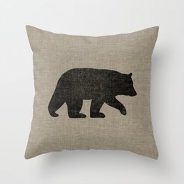 Black Bear Silhouette Throw Pillow