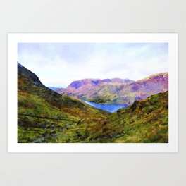 View Down to Buttermere, Lake District, UK Watercolour Painting Art Print