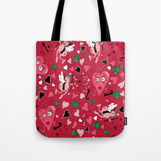Cupid in Red Tote Bag