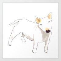 bull terrier Art Prints featuring Bull Terrier by jo clark