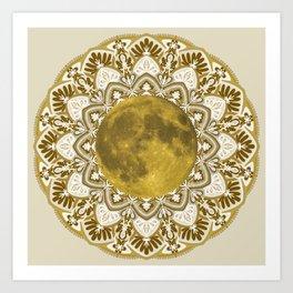 GOLD MOON MANDALA Art Print