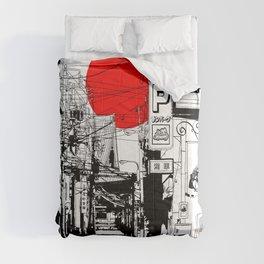 Tokyo street sunrise Comforters