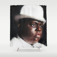 biggie smalls Shower Curtains featuring Biggie Smalls by André Joseph Martin