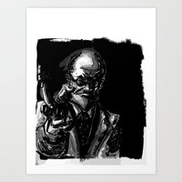 freud Art Prints featuring Freud by Long Live The Doughnuts