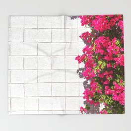 Bougainvilleas and White Brick Wall in Palm Springs, California Throw Blanket